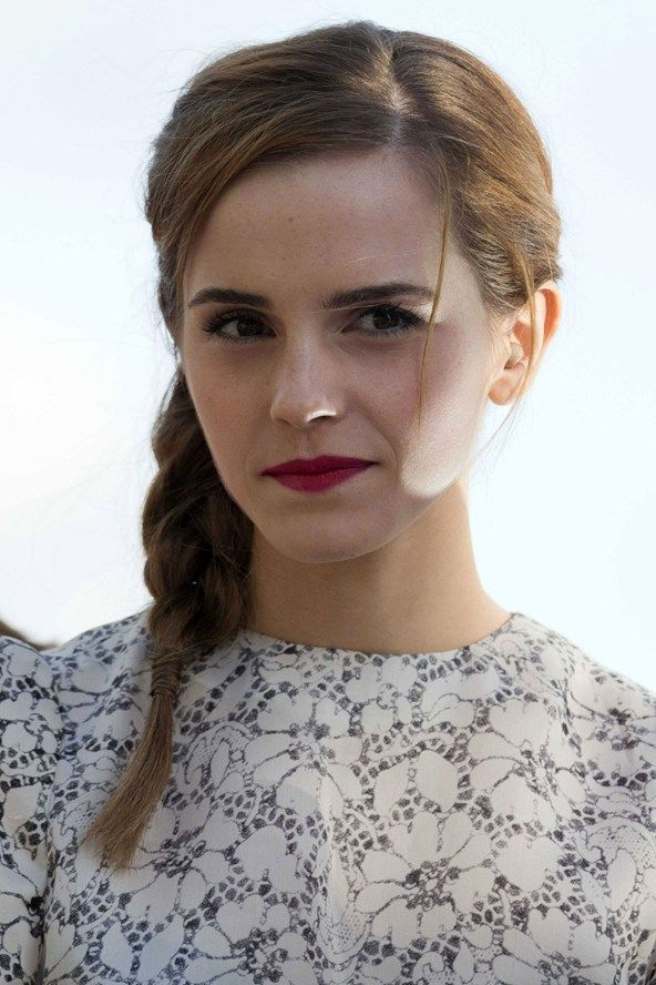 Emma Watson May 2013 - a side plait and fuchsia lipstick