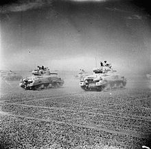 1942 Battle of El Alamein - Sherman tanks of the Eighth Army move across the desert