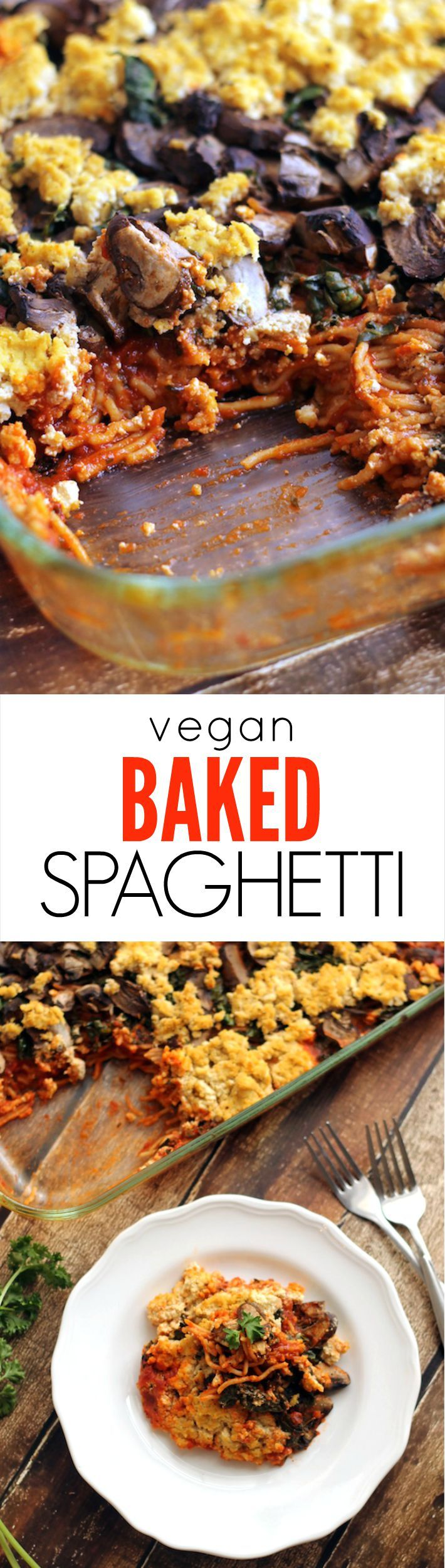 Vegan Baked Spaghetti with Kale, Mushrooms and Tofu Ricotta---a super easy, comforting, kid-friendly meatless meal the whole family will adore!