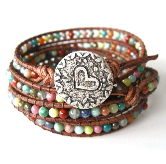 Rustic Love Wrap Bracelet - Beaded Leather Wrap Bracelet - Friendship Bracelet