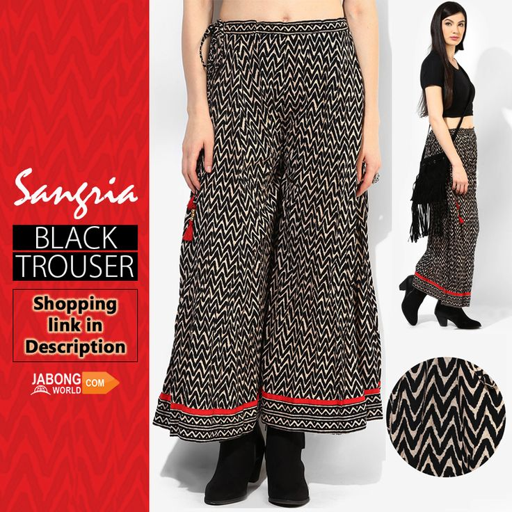 Trending this week!! Trouser by #Sangria, delivering a stunning reflection of your inherent style and personality.  SHOP HERE---> http://www.jabongworld.com/black-trouser-2057899.html?utm_source=ViralCurryOrganic&utm_medium=Pinterest&utm_campaign=SangriaBlackTrouser-12Jan