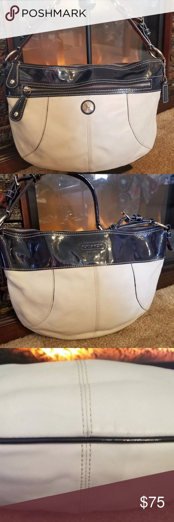 Coach White Leather Handbag Sailor Navy Patent Lea Coach White Leather Handbag Sailor Navy Patent Leather Some ink Mark that should come off with a Cleaning Coach Bags Shoulder Bags