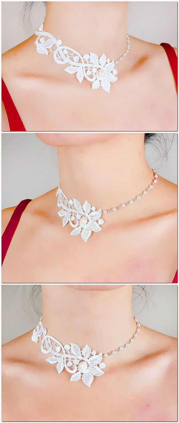 white floral lace choker  silver pearl beaded charm by LaceFancy