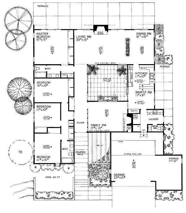 First Floor Plan of Contemporary   Retro   House Plan 95111