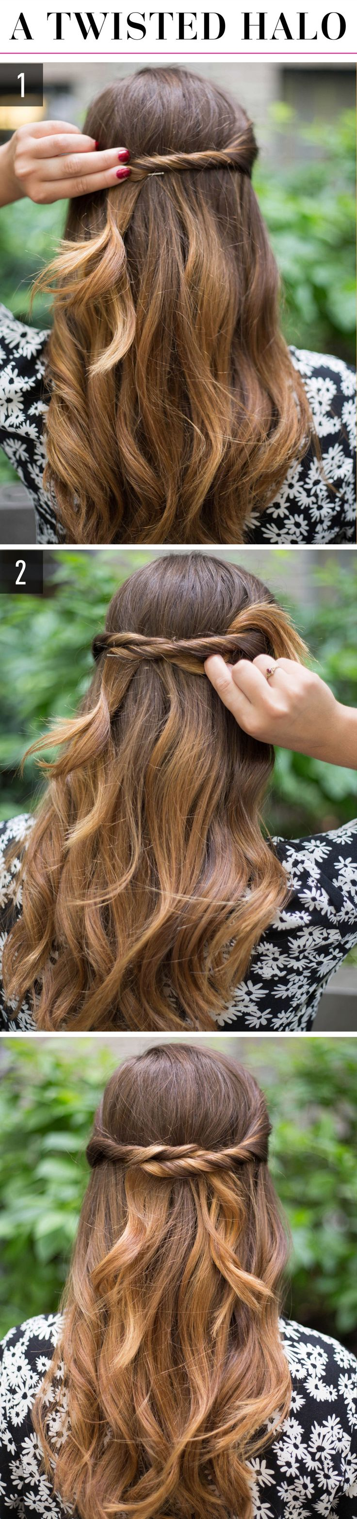 1.Twist back a small section of hair from one side of your head, and secure it with a pin in the middle of your head. 2.Twist back a small section of hair from the other side of your head, tuck it behind the first twisted section, and pin it in the middle of your head.