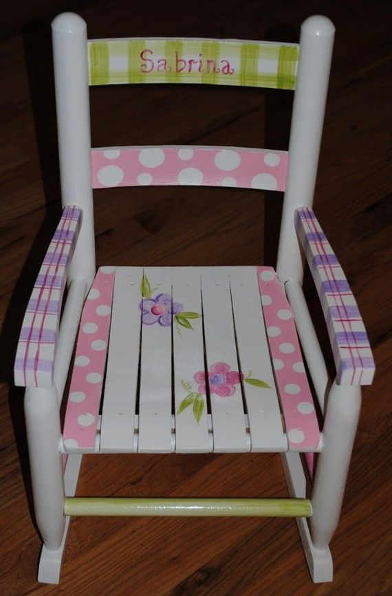 Childrens Rocking Chair Hand Painted By Growinlikeaweed On