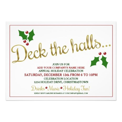 Deck the Halls Holiday Office Party Invitations Corporate,Office