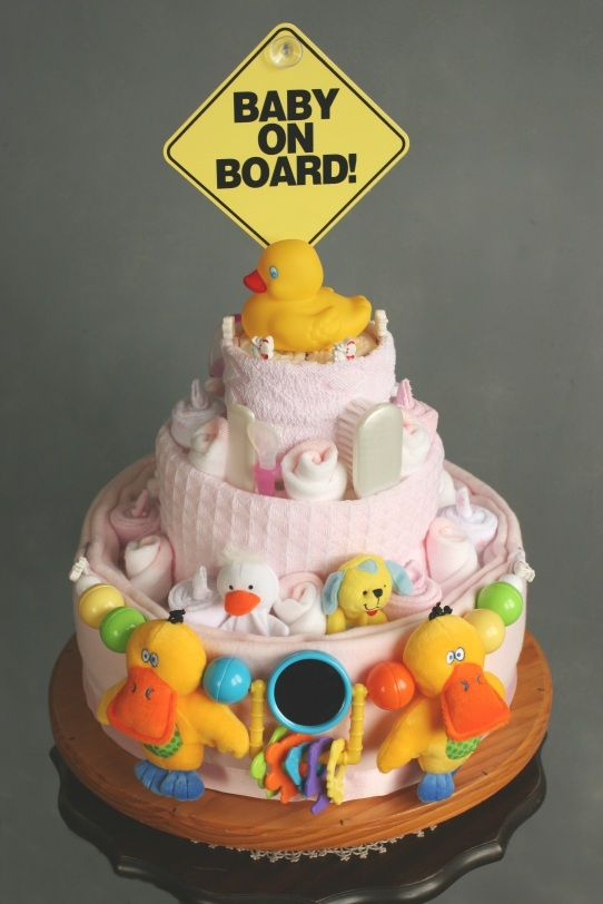 so cute!!  I had one like this, but I like this one with the tiered look.  Mine was more like a layer cake!: Shower Ideas, Nappy Cake, Baby Diaper, Baby Cake, Shower Cake, Diaper Cakes, Shower Gift, Baby Shower