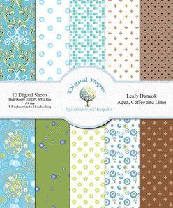 Digital Paper - 10 Sheets - 'Leafy Damask, Aqua, Coffee, and Lime'