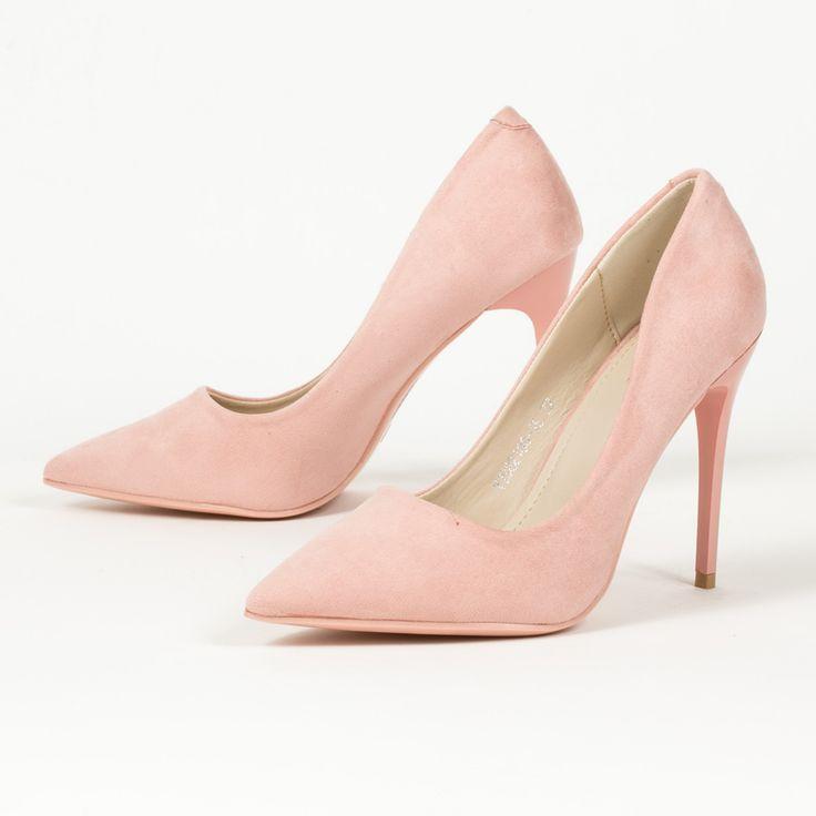 Ροζ βελουτέ γόβες