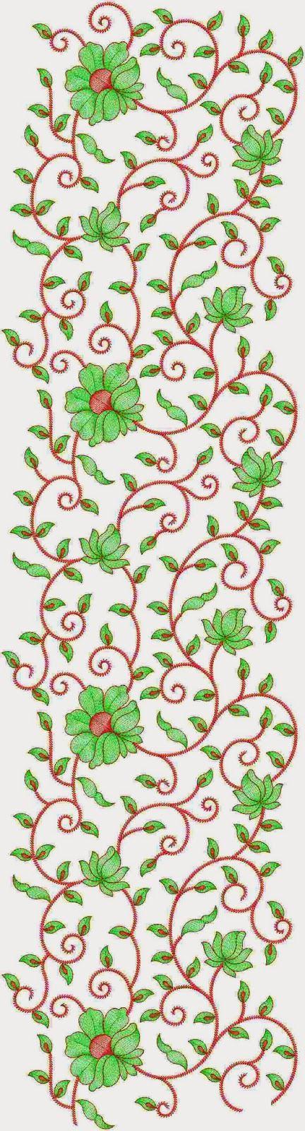 Groen en rooi kleur kombinasie borduurwerk Oral patroon