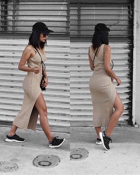 midi dress with matching sneakers, bag, and hat in different color than dress. Could wear with shirt tied around waist or long cardigan/vest for modesty