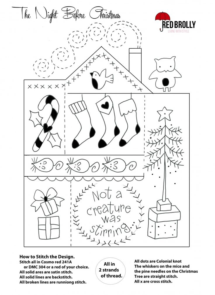 Not A Creature Was Stirring Christmas Sampler Stitchery. Embroidery Sampler Pattern. jwt