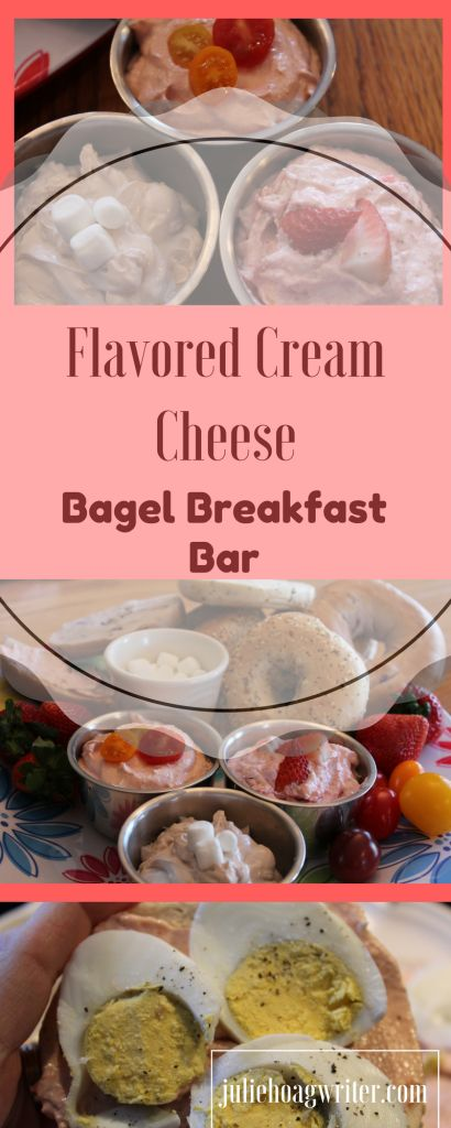 Flavored Cream Cheese Bagel Breakfast Bar platter with Hot Chocolate, Strawberry Apple, and Tomato Chili Cream cheeses