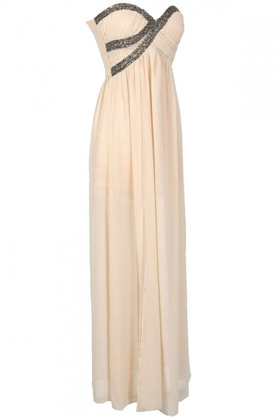Silver Embellished Chiffon Designer Maxi Dress in Cream