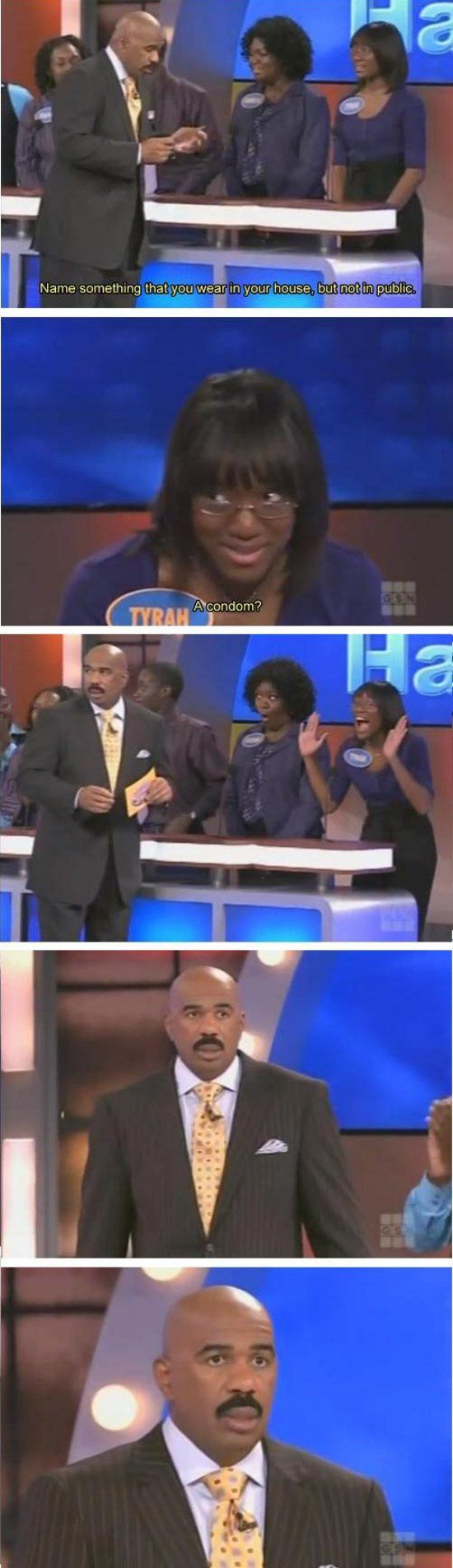 20 of the greatest moments from Steve Harvey's Family Feud (20 Photos) wear in your house but not in public