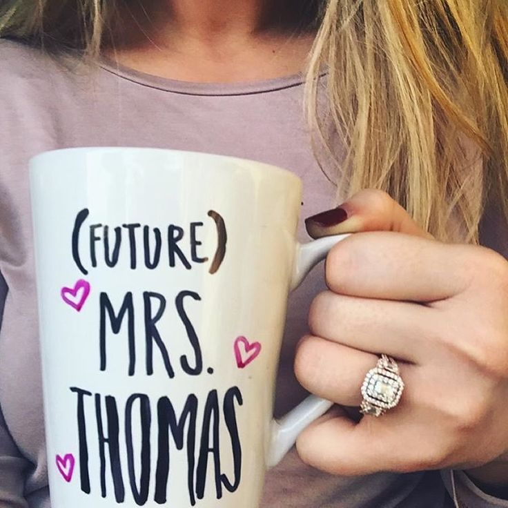 RING OF THE DAY: Check out super easy steps to create your own Future Mrs mug below! -------------------------------------------- 1. Get mugs from the Dollar Store 2. Get Sharpie Oil based markers in your colors of choice. 3. Write your message on your mug. It will not become permanent until baked. 4. Place on a tray an put into a cold oven. Turn on the oven to 350 degrees. Bake for 30 mins. 5. Turn off oven and leave mugs in the oven until completely cooled. That's it…