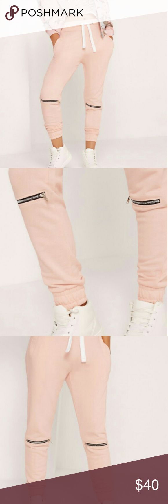 Zip knee detail joggers nude Nude color zip knee detail joggers perfect for those Netflix and chill nights super soft but super cute and the material is heavy and very well made not cheap joggers Pants Track Pants & Joggers