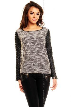 Sweterek- rękawy pikowane CZARNY
