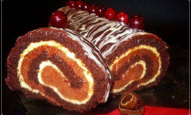 Kakaová roláda s Amarettem a dvojitou čokoládou