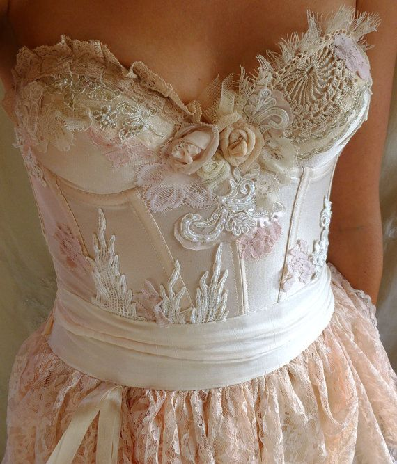 Pearl Bustier Gown... wedding dress boho whimsical by jadadreaming