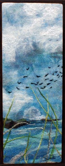 "Rahola Drdul Art. Salt Grass,2011; 15""w x 47""; hand dyed merino wool, silk, linen,hemp, black walnut frame"