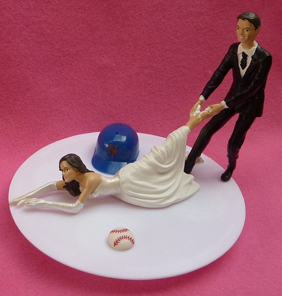 bahha!  Wedding Cake Topper New York Mets NY G Baseball Themed w/ Garter, Display Box