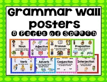 8 parts of speech posters with pictures. Easy to just print and hang in your classroom for a grammar wall.Includes pronoun, noun, verb, preposition, adjective, adverb, interjection, and conjunction with definitions and pictures and words on each one to provide students with visual clues that are perfect for an ELL or SEI classroom.