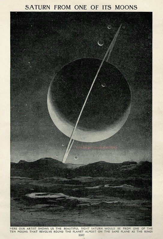 Saturn From One of Its Moons, 1920 astronomy space star chart print planets, solar system, universe, space illustration print