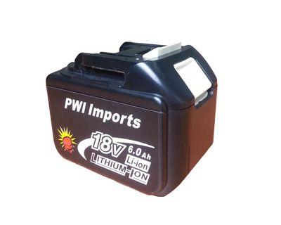 Makita 18v 6.0Ah Li-ion Replacement Battery BL1860LED by PWI Imports Australia.
