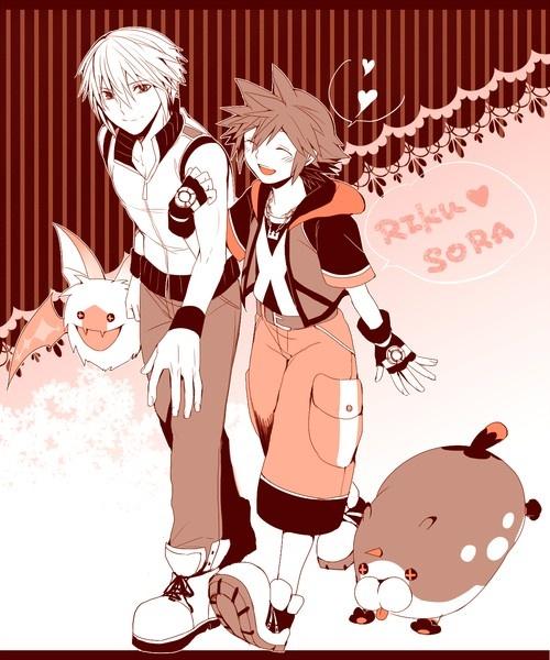 Sora and Meow Wow and Riku and Komory Bat.