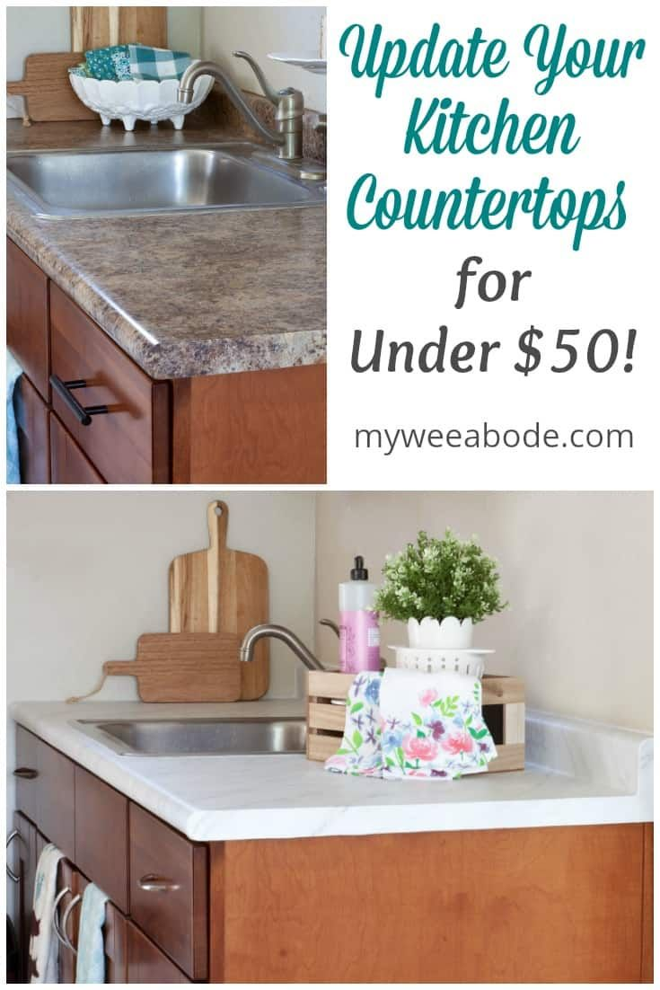 Update Your Countertops Without Replacing Them My Wee Abode Cheap Kitchen Countertops Kitchen Countertops Replacing Kitchen Countertops