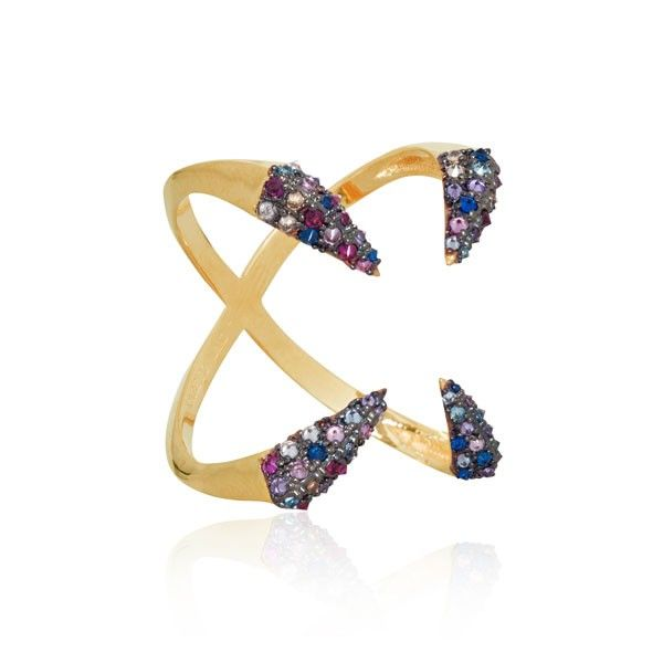 #EC One Katie Rowland Ring |Studded Raindbow Cross Gold Ring