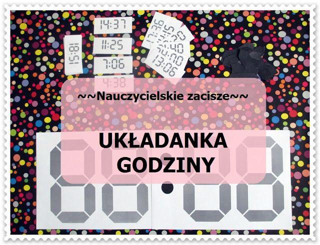 UKŁADANKA-ZEGAR-GODZINY Telling time, clock, puzzle, electronic clock, free template