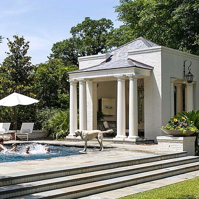 elegant pool love the columns on the pool house