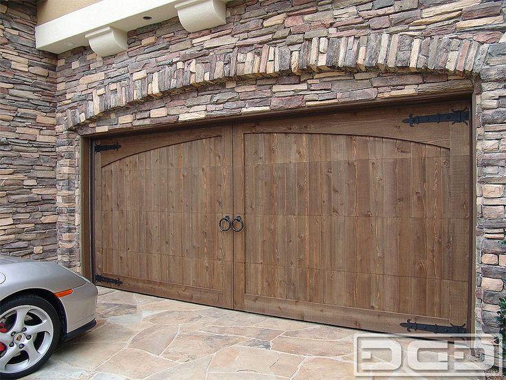 Wooden Garage Door With Dummy HingesCustom Garage Doors With Decorative  Hardware   A Rough Cedar Wood