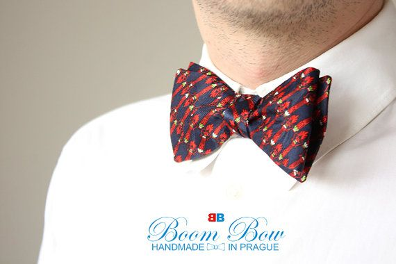 Mens bow tie Pure silk men's self tie bow tie Self by BoomBowTie