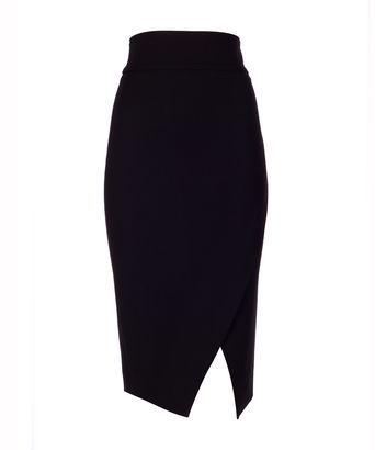 Rok angular - Strak aansluitende rok met hoge taille en lengte tot onder de knie; comfortabele dikke stretch stof; asymmetrische split; brede tailleband; blinde rits in de zijnaad.
