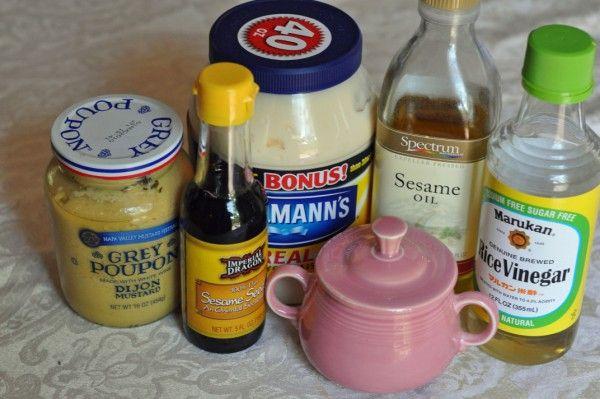 Applebee's oriental salad dressing-or Dressing 3 tablespoons Honey 1 1/2 tablespoons Rice Wine Vinegar 1/4 cup Mayonnaise (Duke's -- It's all we use) 1 teaspoon Grey Poupon Dijon Mustard 1/8 teaspoon Sesame Oil