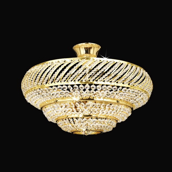 Traditional crystal chandelier with beautiful bohemian crystal glass trimmings and polished brass finishing.  Diameter 17″; Height 11″; Weight 1,2lb;   Wattage 6 x 40W