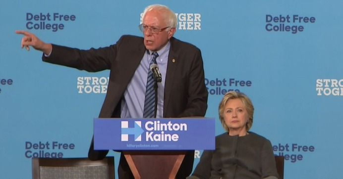 Bernie Sanders stumped for Democratic presidential nominee Hillary Clinton in New Hampshire on Wednesday, highlighting the former secretary of state's plans to make college affordable as she struggles to win over younger voters that flocked to the Vermont senator during their rival campaigns.