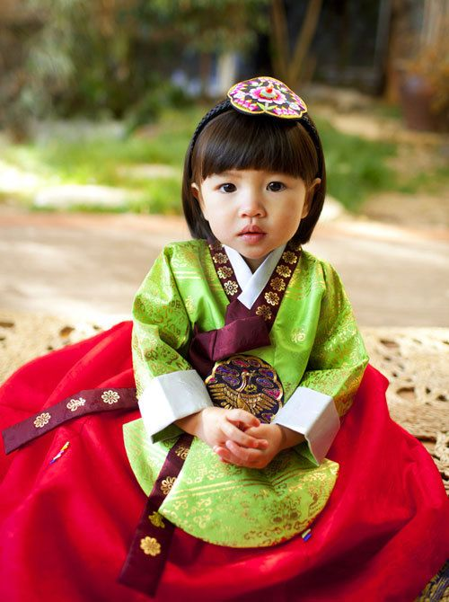 Adorable south Korean girl in traditional dress