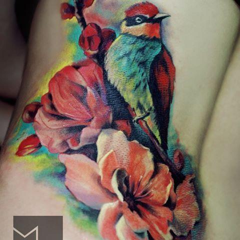 #тату #татуха #татумастер #татуировка #tattoo #tatoos #акварель #реализм #птица #цветы  Мастер: Irina Mrak