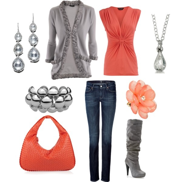 Coral & Silver: Fall Colors, Cute Outfits, Coral Outfits, Gray Boots, Super Cute, Style Pinboard, Outfits Ideas, Closet, Grey Outfits