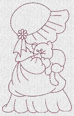 6 Sets Sunbonnet Sue Redwork Machine Embroidery Designs CD Over 120 Designs
