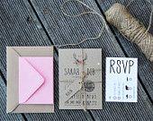 10 Wedding Invitation / Rustic Wedding Invitation Suite - 'Rustic Barn'