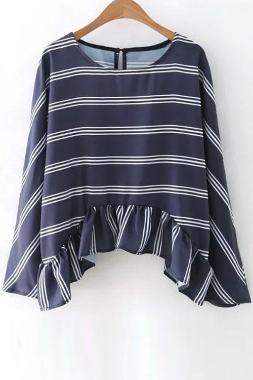 Striped Flounce Ruffles Round Neck Long Sleeve Blouse