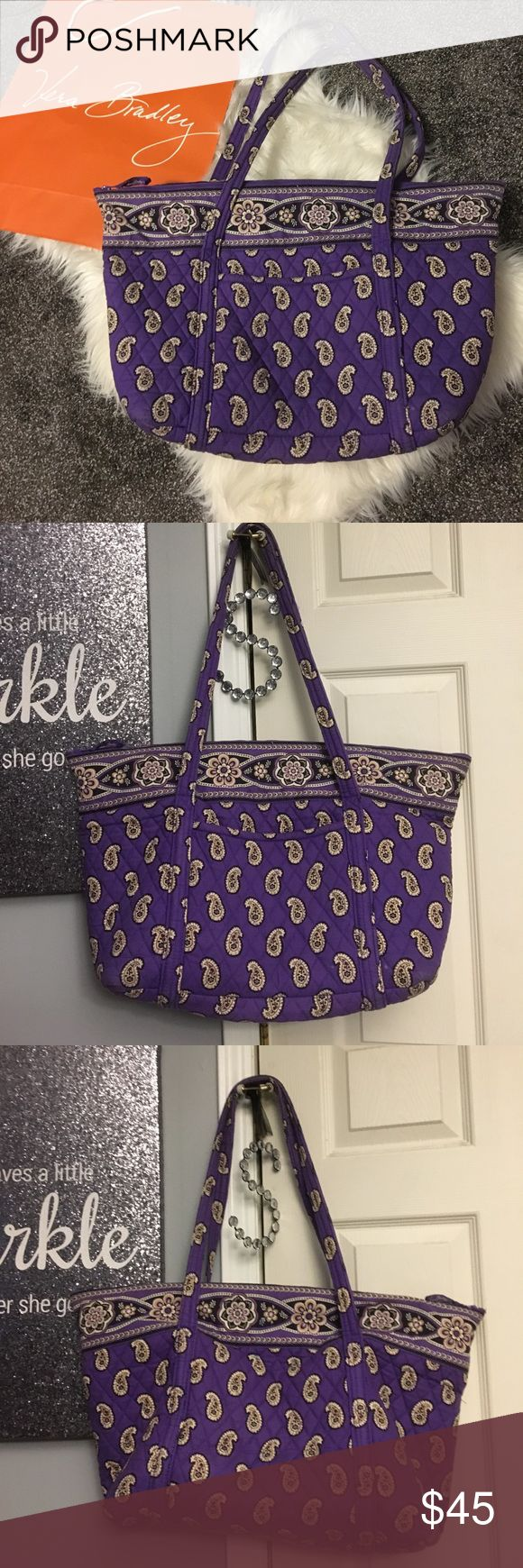 Large vera bradley tote bag Previously used, minimal wear, slight fading on handles and one discoloration shown in photo on the back of the bag, open to reasonable offers, no trades🎀 20 inches long 14 inches tall 13 inch handle drop Vera Bradley Bags Totes