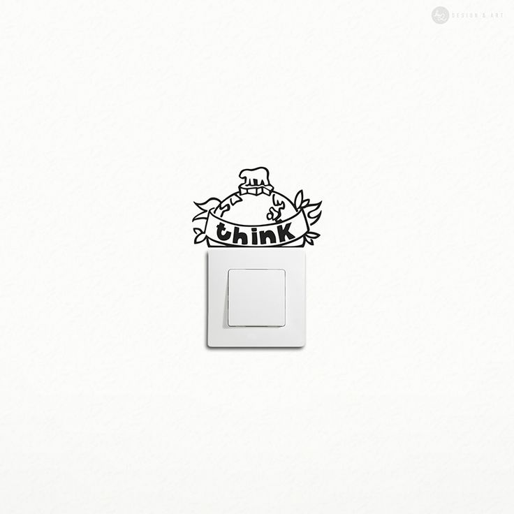 ❤️❤️❤️Hu2 Design exclusive Think wall design sticker for light switch made from eco adhesive for saving energy.