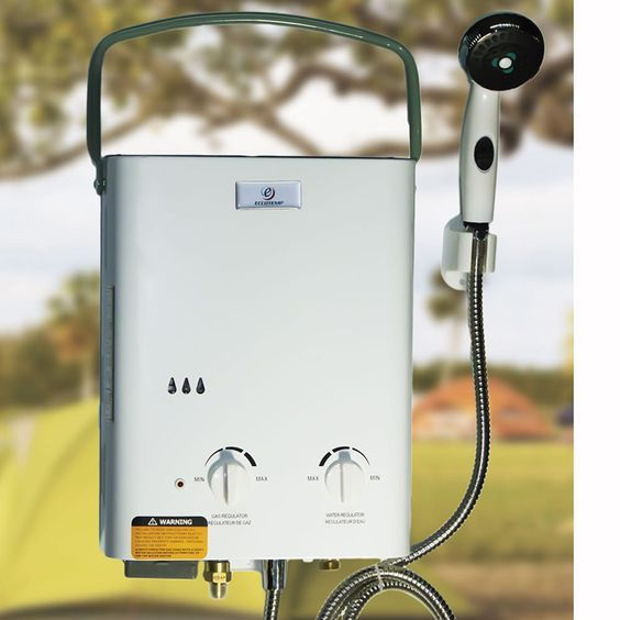Enjoy a hot outdoor shower anywhere with a portable tankless water heater.